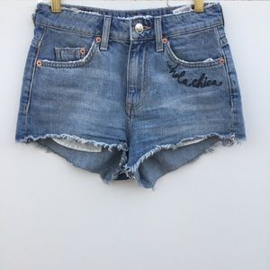 Divided Hola Chica Embroidered Tiger Denim Shorts
